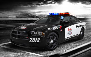 Фотографии Dodge Тюнинг Черный 2012 Charger Pursuit Pace Car Автомобили