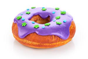 Обои Пончики Вблизи Белый фон Звездочки Пища