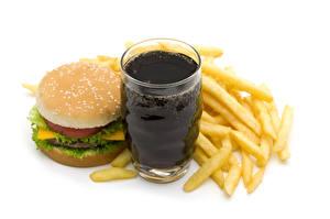 Картинки Напитки Картофель фри Гамбургер Булочки Фастфуд Белый фон Стакана Еда