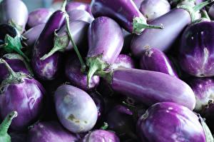 Фотография Баклажан Вблизи Фиолетовый Продукты питания