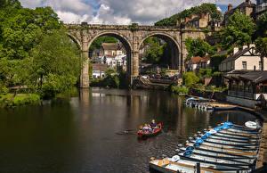 Фотографии Англия Здания Речка Мосты Причалы Лодки Harrogate Borough