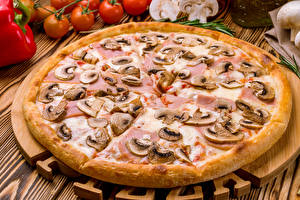 Картинки Фастфуд Пицца Грибы Продукты питания