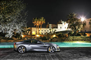 Картинки Феррари Серый Сбоку 2018 Portofino Автомобили