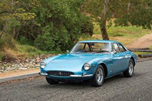 Фотографии Ferrari Ретро Голубой Металлик 1966 500 Superfast Pininfarina Автомобили