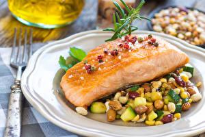 Обои Рыба Овощи Тарелка Еда
