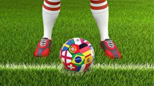 Обои Футбол Трава Мяч Ноги Спорт 3D_Графика