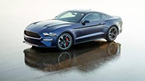 Обои Ford Синий Mustang 2018 Bullitt Kona Blue Автомобили