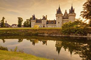 Картинка Франция Замки Речка Chaumont Castle
