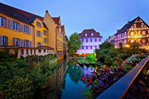 Фотография Франция Дома Пирсы Вечер Водный канал Colmar Города