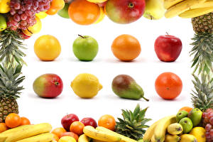 Картинки Фрукты Яблоки Груши Апельсин Авокадо Лимоны Виноград Бананы Белый фон