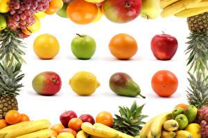 Картинки Фрукты Яблоки Груши Апельсин Авокадо Лимоны Виноград Бананы Белым фоном Пища