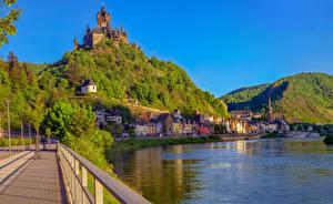 Картинка Германия Кохем Дома Замки Реки Холмы