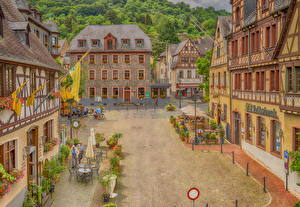 Фотографии Германия Здания Улица Уличные фонари Oberwesel
