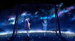 Фотографии Привидение Качели Ночные Сидящие by lluluchwan Девушки