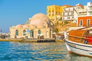 Картинки Греция Здания Пирсы Chania port Crete