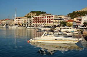 Обои Греция Здания Причалы Катера Залив Zakynthos