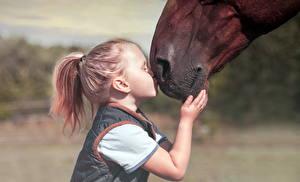 Картинки Лошади Девочки Поцелуй