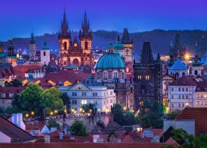 Фото Здания Вечер Чехия Прага Купол Города