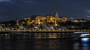 Обои Венгрия Будапешт Здания Реки Ночь Города