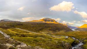 Фотографии Исландия Дороги Холмы Ручеек Мхом Sudur-Mulasysla Природа