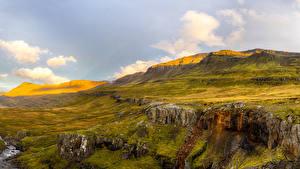 Фотографии Исландия Холмы Мох Sudur-Mulasysla Природа
