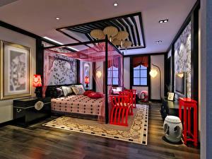 Картинки Интерьер Дизайн Спальня Кровать Ковра Потолок