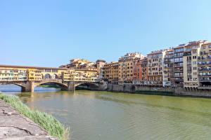 Фотография Италия Флоренция Здания Реки Мосты