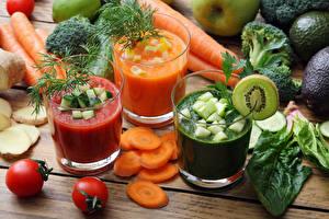 Картинка Сок Овощи Морковь Помидоры Укроп Стакан Продукты питания