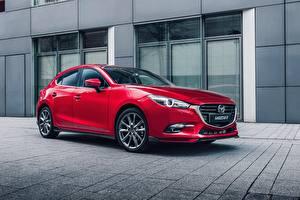 Обои Mazda Красных Металлик 2016-17 Mazda3 Hatchback Accessorized Worldwide машины