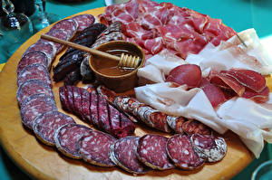 Фотография Мясные продукты Колбаса Ветчина Нарезка