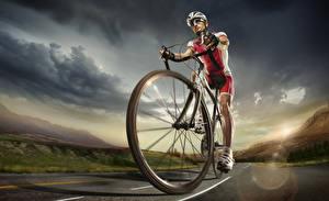 Обои Мужчины Велосипед Униформа Колесо спортивная