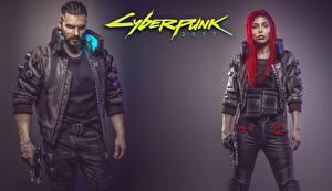 Фотографии Мужчина Cyberpunk 2077 Рыжая Fan ART компьютерная игра Девушки