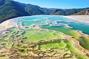 Картинка Мексика Горы Воде Oaxaca Hierve el Agua Природа