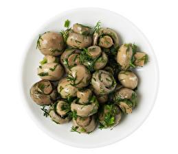 Картинка Грибы Укроп Шампиньоны двуспоровые Тарелке Пища Еда