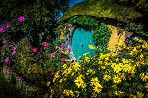Обои Новая Зеландия Парк Дома Космея Майоры Hobbit House Matamata Природа