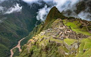 Фотографии Перу Горы Развалины Machu Picchu Природа