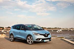 Картинки Renault Голубой 2016 Grand Scenic Автомобили
