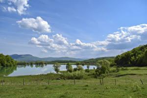Обои Россия Крым Озеро Небо Холмы Трава