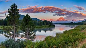 Обои Пейзаж Вечер Реки Горы США Трава Деревья Grand Teton