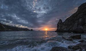 Фото Пейзаж Рассветы и закаты Волны Камень Залив Утес