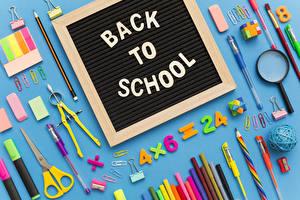 Обои Школьные Канцелярские товары Английская Карандаша Шариковая ручка Увеличительное стекло