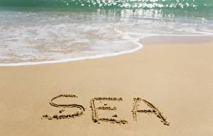 Фотография Море Песок Слово - Надпись Английский