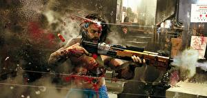 Картинки Ружьё Cyberpunk 2077 Выстрел Кровь Киборг Фан АРТ Игры