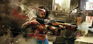 Картинки Ружьё Cyberpunk 2077 Выстрел Крови Киборги Фан АРТ компьютерная игра
