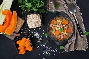 Фотография Супы Тыква Ложка Продукты питания