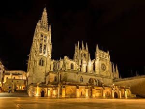 Картинки Испания Храм Церковь Ночные Burgos Города