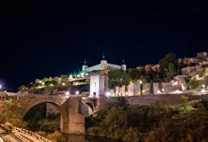 Фотография Испания Толедо Здания Мосты Ночные Уличные фонари