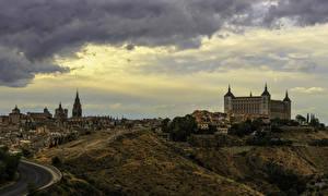 Фотографии Испания Толедо Дома Вечер Холмы