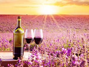Картинки Рассветы и закаты Вино Лаванда Бутылка Бокалы Вдвоем