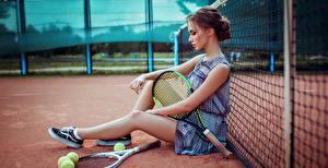 Фото Теннис Сидящие Красивые Ног Сетка Anna Golub спортивная Девушки